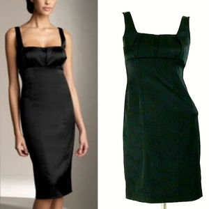 Calvin Klein Black Satin Sleeveless Sheath Dress